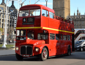 Vintage open top double-decker bus tour of London - Christmas Day 2019